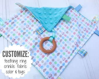Baby Sensory Tag Blanket | Options: Natural Teething Ring, Crinkle Material, Color | Gray with Pastel Dots with Animals