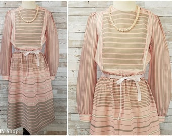 Pink and pale gray striped secretary dress - medium