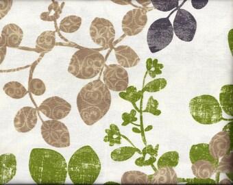 Leaves Green Gray Tan Curtain Valance