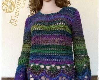 Femmes pull multicolore crochet de la laine et acrylique