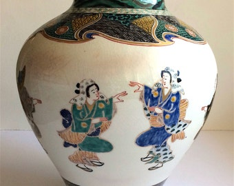 Large Antique Japanese Vase, Dancing Ladies