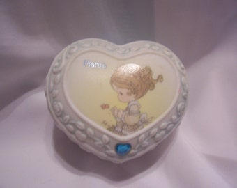 Precious Moments Heart Shape Trinket Box for The Month of March