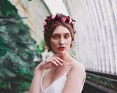 flower crown hair wreath  boho wedding romantic red burgundy green rose crown bridal headpiece woodland headwreath hair flowers autumn