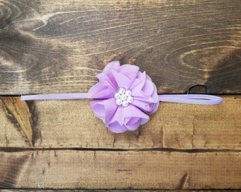 Pastel purple infant headband, spring flower baby headband, newborn bows, photo prop, Easter baby girl shabby flower headband