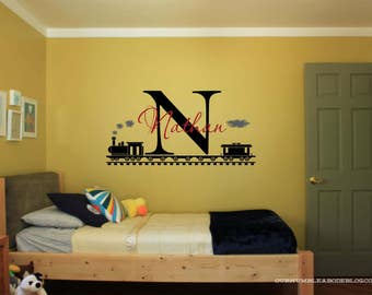 Personalized Train and Name Vinyl Wall  #5 Personalized Decal,Kids Wall Decal,Train Decal, custom wall Decal, Vinyl Wall Decal