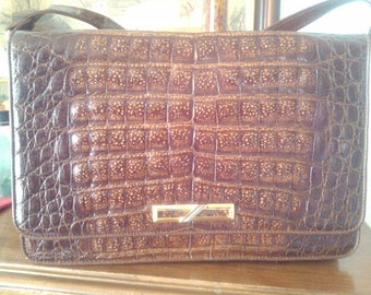 "Handbag shoulder bag vintage, ""Crocodile""."