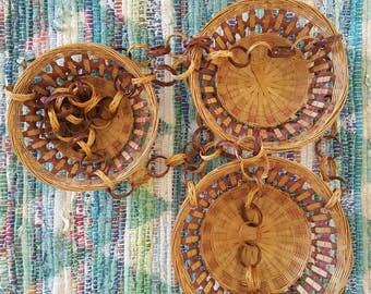 Vintage Hanging Baskets / Three-tiered