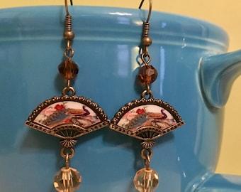 Geisha Fan Earrings - Bohemian, Gypsy Style, Antique Gold