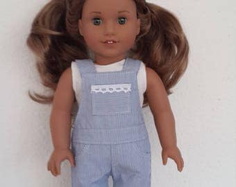 """18 inch Doll clothes - blue and white pin striped shortalls for 18"""" Girl Dolls - Trendy Shortall  - doll clothes -18 """"doll shortall"""