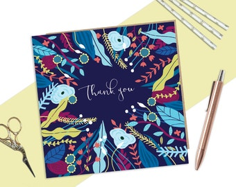Thank you card, Thank you very much, Cards to say thanks, Floral card, Beautiful thank you card, quirky thank you card, Thanks a lot