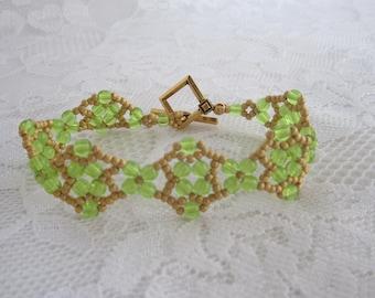 Lime Green Beaded Bracelet-Boho Bracelet-Bead Weaved Bracelet-Bead Weaving-Trendy Jewelry-Summer Bracelet-Bright Bracelet-Fashion Bracelet