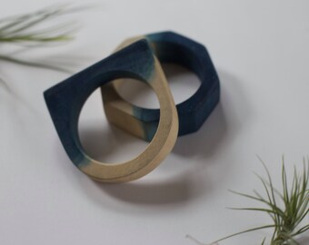 Wooden Indigo-Dipped Bangles (Set of 2)