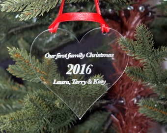 First Family Christmas Tree Decoration in a range of shapes with your choice of message