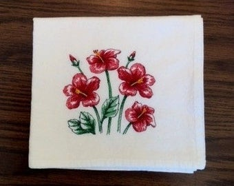 Red Hibiscus Embroidered Flour Sack Towel