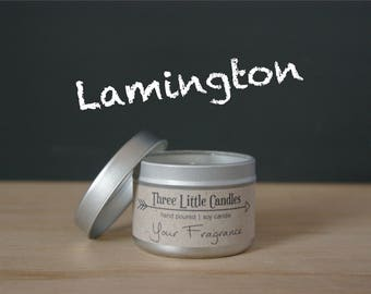 Lamington Soy Candle Tins - 2oz, 4oz or 8oz