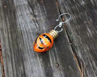 Hand Turned Acrylic Ornament - Handcrafted Orange-Black Holiday Light Bulb-High Gloss-Solid Christmas Tree Bulb Ornament-Handmade Christmas