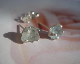 Rough Raw Aquamarine Earrings // Nice Blue Aquamarine Earrings // Post-stud Earrings sterling silver E272
