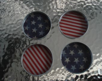 Set of 4 Mason Jar Coasters  / 4th Of July / Red , White , And Blue / Patriotic / American Flag /  Stars And Stripes / Handmade