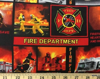 Red Firetruck Fabric By the Yard, Half, Fat Quarter Firefighter Fireman Red & Black Cotton Quilting Apparel Fabric t2/