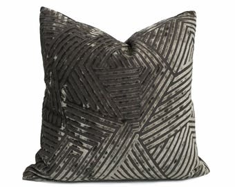 "Designer Pewter Dark Gray Cut Velvet Geometric Lines Pillow Cover,  Fits 12x18 12x24 14x20 16x26 16"" 18"" 20"" 22"" 24"" 26"" Inserts"