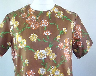 Vintage dress 60s brown floral scooter mod dress size extra large XL