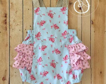 Blue Floral Ruffle Bubble