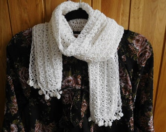 Free shipping, lacy scarf,  Summer scarf, Spring scarf, women scarf, white  scarf, off white scarf,  lacy scarf, crochet scarf