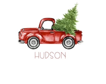 Christmas Truck and Tree Shirt, Iron on Transfer or Personalized Digital Design