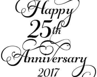 Instant Print Download Happy 25th Anniversary Wine Label