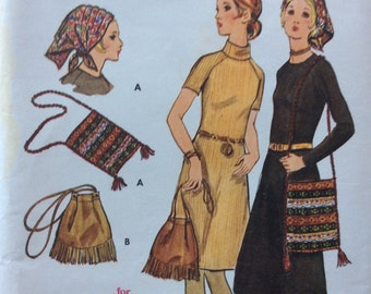 Butterick 6018 vintage 1970's misses dress, hat & bag sewing pattern size 14 bust 36  Uncut  Factory folds