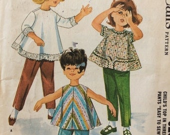McCall's 6253 vintage 1960's girls top and pants sewing pattern designed by Helen Lee  size 1  Uncut