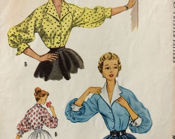 McCall's 9026 misses blouses size 12 bust 30 vintage 1950's sewing pattern Uncut  Factory folds
