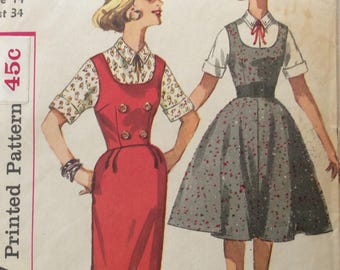 Simplicity 3595 junior misses jumper & blouse size 14 bust 34 vintage 1950's sewing pattern Uncut  Factory folds