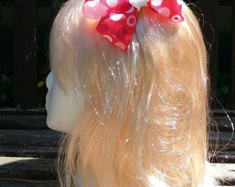 Red with pink and white polka dots hair bow