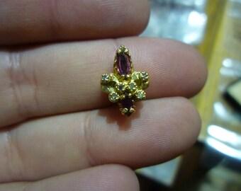 D14 Vintage 14K Gold Pocket Watch Chain Slide w/Garnets and Diamonds.