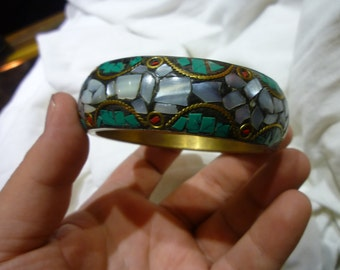 D48 Brass and Enameled with Stones Bangle.