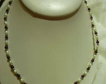 G27 Vintage Dainty Fresh Water Pearl & Garnets Necklace.