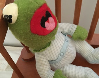 Baby Kermit the Frog muppet pampers plush