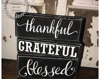 Thankful, Grateful, Blessed wooden blocks set, country decor, shelf sitter, wood stacking blocks