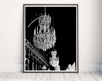 Versailles Print, Versailles Photograph, Black and White Paris Print, Chandelier Print, Black and White Wall Art, Hall of Mirrors Photo