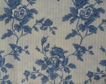 Cream Blue Floral Fabric, scrap fabric, fat quarter, blue rose pattern