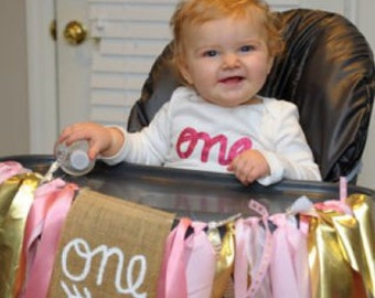 Pink Gold One Banner, One Banner, I Am One Garland, I Am One Sign, Pink Gold First Birthday, High Chair Banner Girl, High Chair Decor