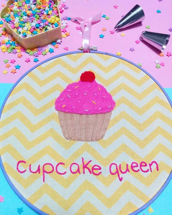 Cupcake queen embroidery hoop art by westcoastcreator on