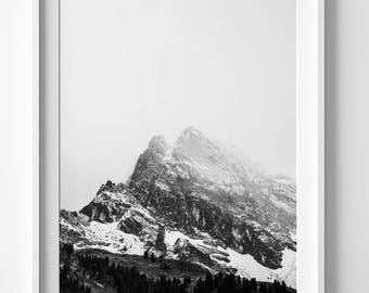 Mountain print, mountain wall art, nature wall art, black and white poster, landscape photography art, black and white print, nature prints
