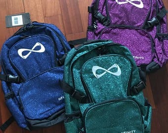 Nfinity Sparkle Full Size Backpack -  Personalize with Name, Cheer Team, etc  - available in Royal, Purple, Teal, Black & Red