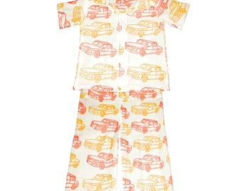 Cotton Lounge wear, UNISEX, Long Sleeve Organic Adult pajamas, Handmade pajamas, Cars print, Matching pjs, Family pajama sets, Jammies