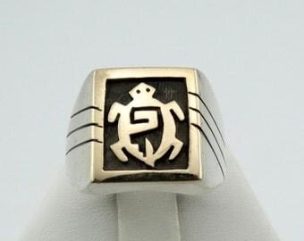 Unique 14K Gold/Sterling Silver Tortoise Ring Southwest Native American Tortoise Hallmark  #TURTLE-SR1