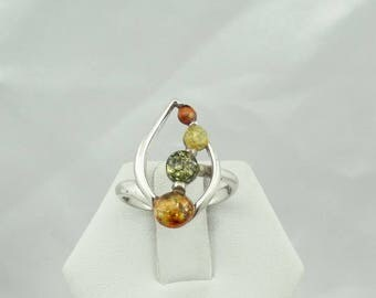 Unusual Vintage Multi-Colored Amber Cabochon and Sterling Silver Ring Size 6 3/4  #AMBER-SR3