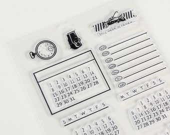 Calendar Stamp,  Travel Stamps for Traveller's Notebook, Journal Accessories - Planner Stamp T58