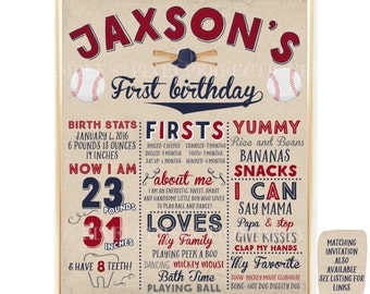 Baseball First Birthday Chalkboard Poster Baseball 1st Birthday Poster Vintage Baseball Birthday Poster Baseball 1st Birthday Party